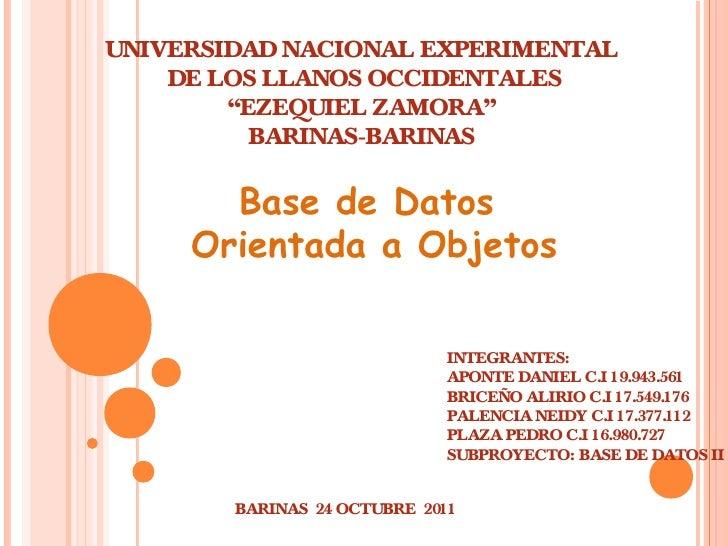 """UNIVERSIDAD NACIONAL EXPERIMENTAL    DE LOS LLANOS OCCIDENTALES        """"EZEQUIEL ZAMORA""""          BARINAS-BARINAS       Ba..."""