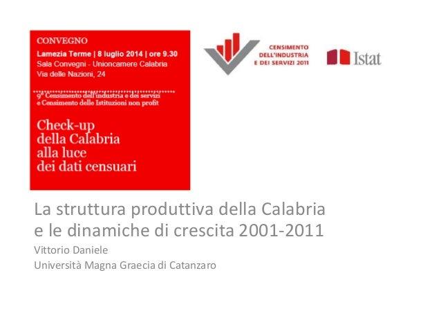 La struttura produttiva della Calabria e le dinamiche di crescita 2001-2011 Vittorio Daniele Università Magna Graecia di C...