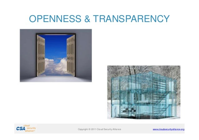 OPENNESS & TRANSPARENCY  Copyright © 2011 Cloud Security Alliance  www.cloudsecurityalliance.org
