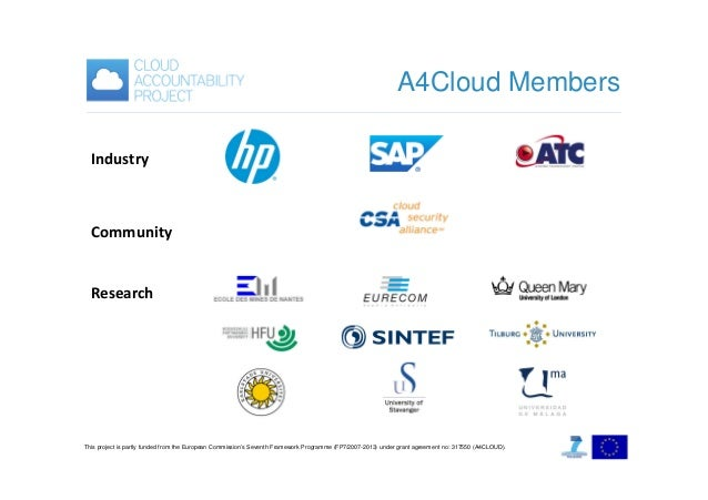A4Cloud Members Industry  Community Research  This project is partly funded from the European Commission's Seventh Framewo...