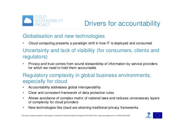 Drivers for accountability Globalisation and new technologies •  Cloud computing presents a paradigm shift in how IT is de...
