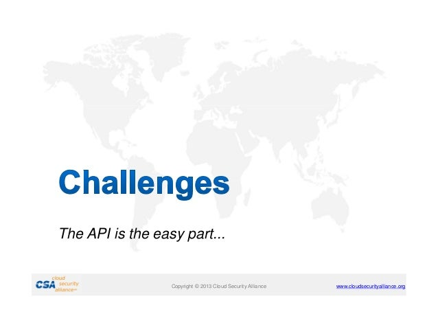 The API is the easy part...  Copyright © 2013 Cloud Security Alliance  www.cloudsecurityalliance.org