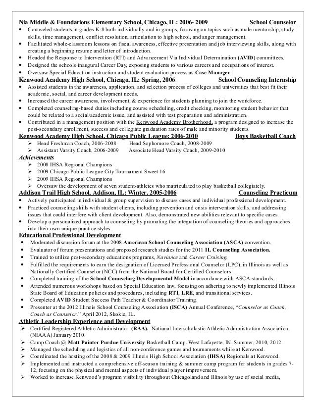 elementary guidance counselor resume sample