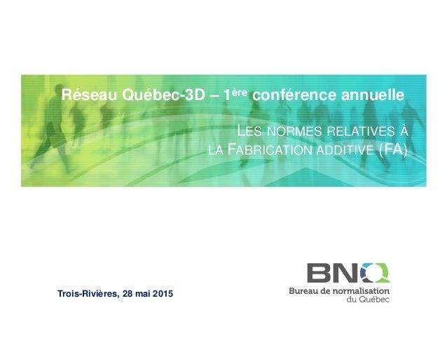 ©CRIQ - Tous droits réservés Titre professionnel (Arial 16) Date (Arial 12) Réseau Québec-3D – 1ère conférence annuelle LE...