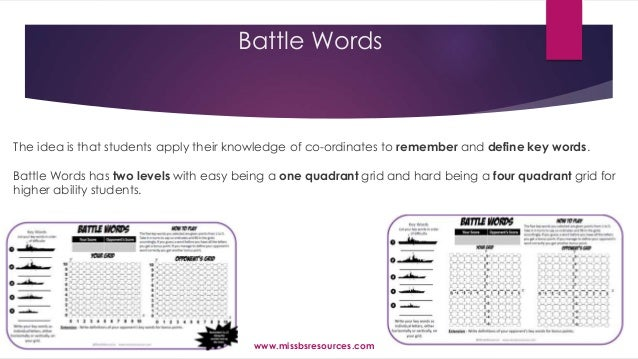 Battle Words The idea is that students apply their knowledge of co-ordinates to remember and define key words. Battle Word...