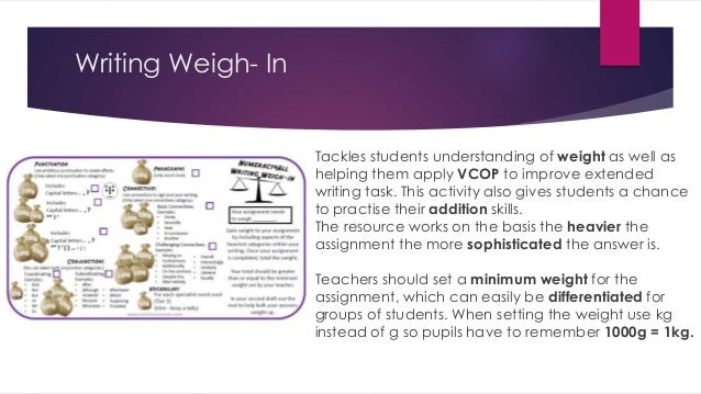 Writing Weigh- In Tackles students understanding of weight as well as helping them apply VCOP to improve extended writing ...