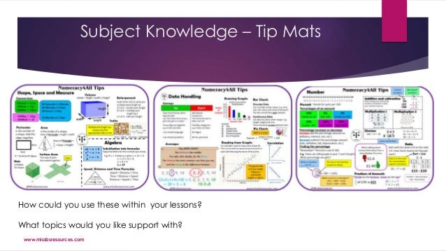Subject Knowledge – Tip Mats How could you use these within your lessons? What topics would you like support with? www.mis...