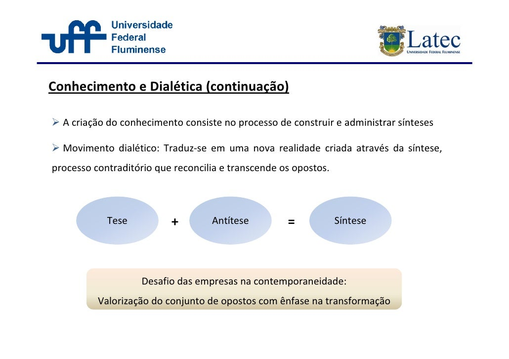 Conhecimento e Dialética (continuação)    A criação do conhecimento consiste no processo de construir e administrar síntes...