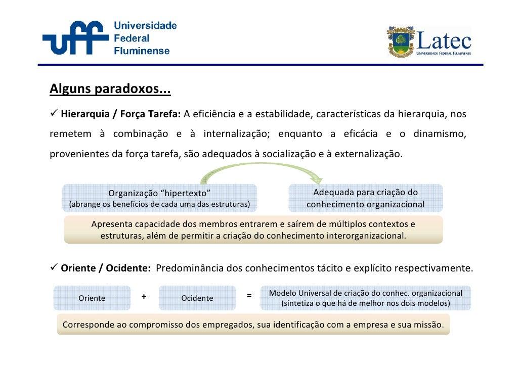 Alguns paradoxos...   Hierarquia / Força Tarefa: A eficiência e a estabilidade, características da hierarquia, nos remetem...