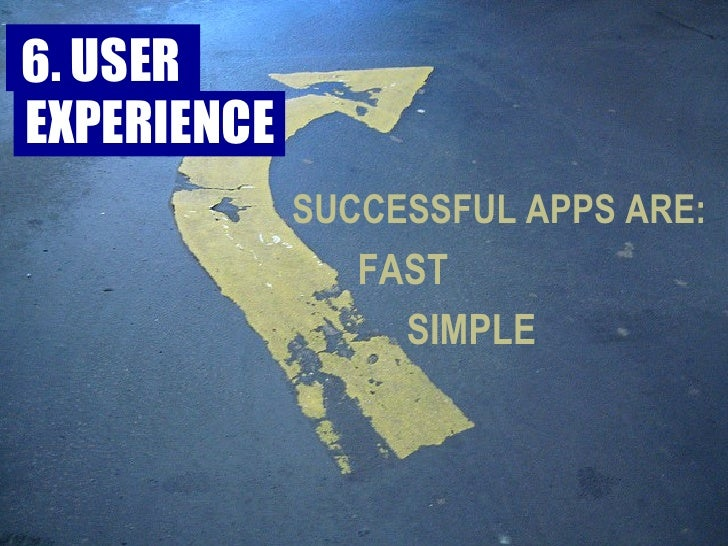 FAST SIMPLE SUCCESSFUL APPS ARE: 6. USER  EXPERIENCE
