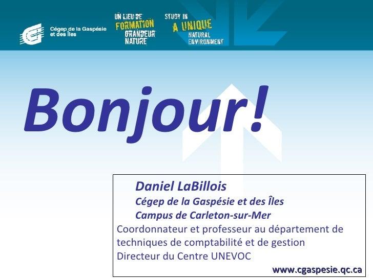 Bonjour!      Daniel LaBillois       Cégep de la Gaspésie et des Îles       Campus de Carleton-sur-Mer   Coordonnateur et ...
