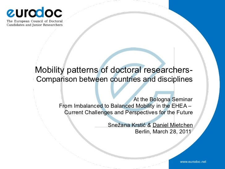 Mobility patterns of doctoral researchers-Comparison between countries and disciplines                                  At...