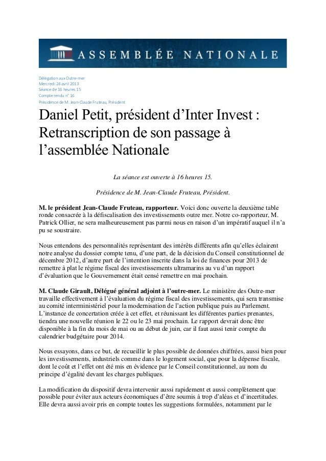 Délégation aux Outre-mer Mercredi 24 avril 2013 Séance de 16 heures 15 Compte rendu n° 16 Présidence de M. Jean-Claude Fru...