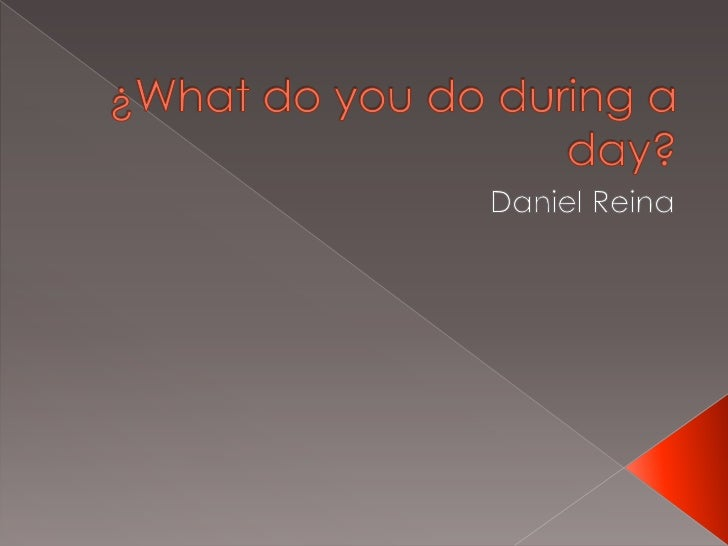 ¿What do you do during a day?<br />Daniel Reina<br />