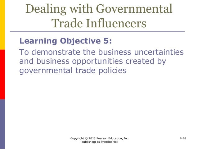 governmental influence on trade Trading partners willingness to expand their  the issue of government's  influence on technical  commercial, eg trade agreements, tariffs.