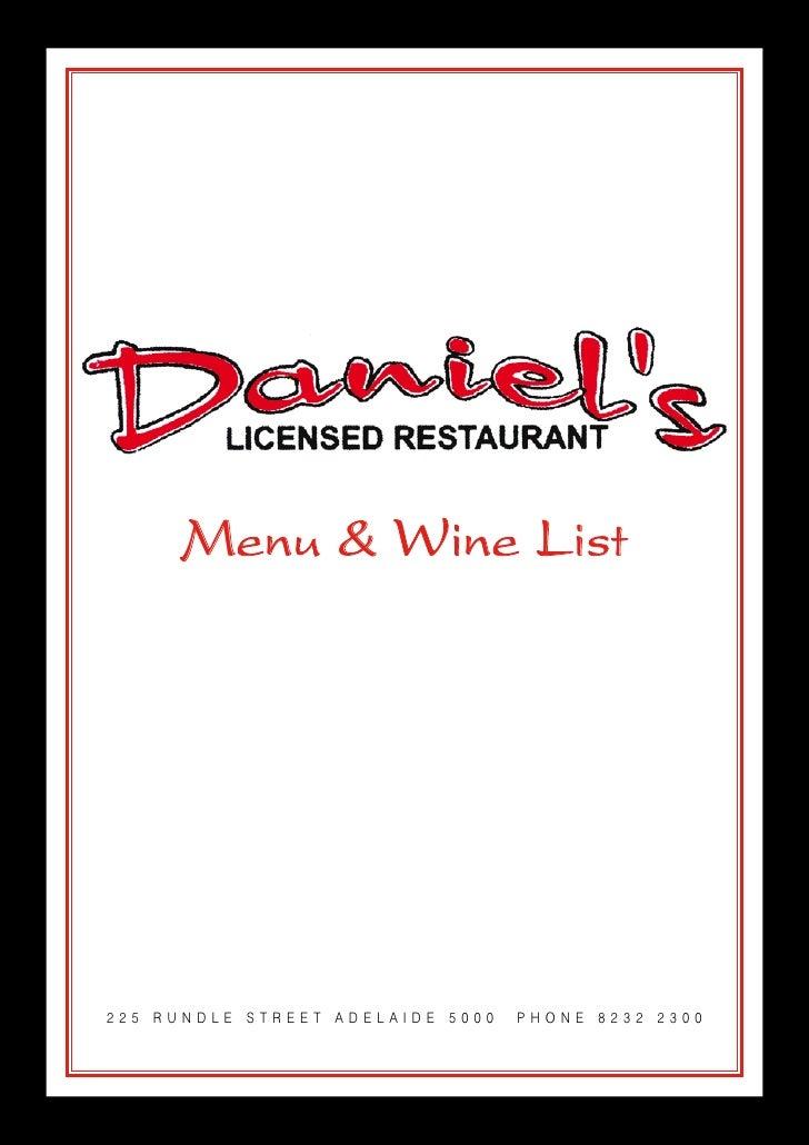 Menu & Wine List     225 RUNDLE STREET ADELAIDE 5000   PHONE 8232 2300