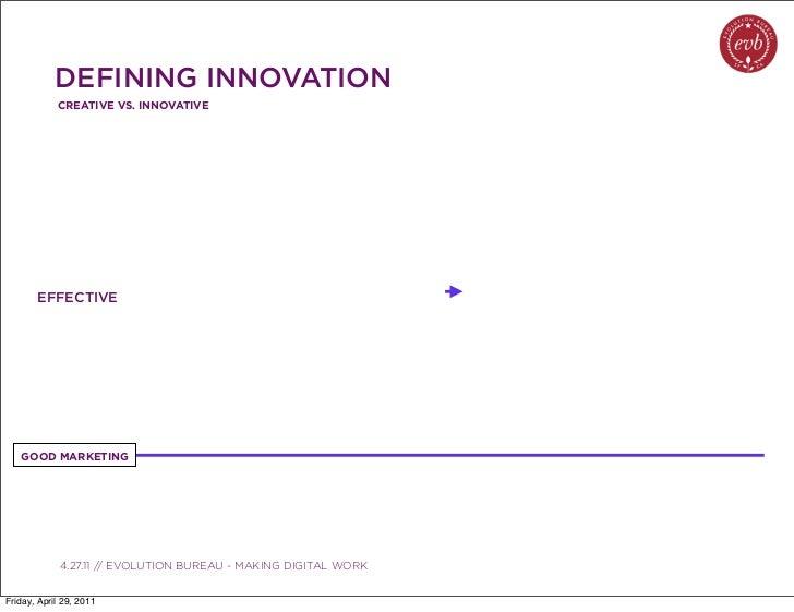 DEFINING INNOVATION            CREATIVE VS. INNOVATIVE       EFFECTIVE   GOOD MARKETING               03.04.10 // ORBIT //...