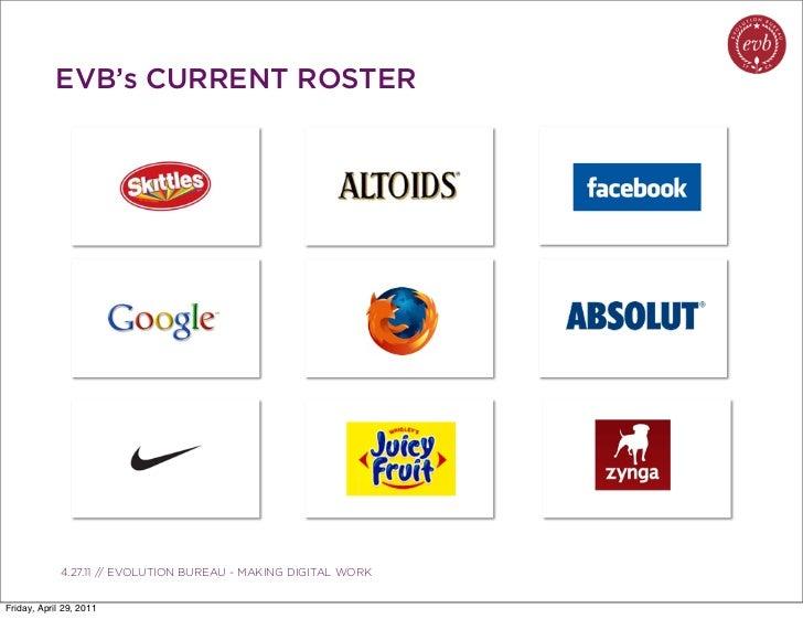 EVB's CURRENT ROSTER               03.04.10 // ORBIT // ORBIT BOULDER DIGITAL CAMPAIGN             4.27.11 // EVOLUTION BU...
