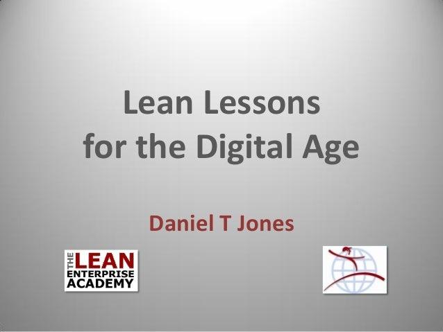 Lean Lessons for the Digital Age  Daniel T Jones