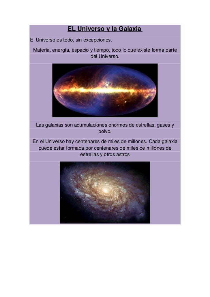 EL Universo y la GalaxiaEl Universo es todo, sin excepciones. Materia, energía, espacio y tiempo, todo lo que existe forma...
