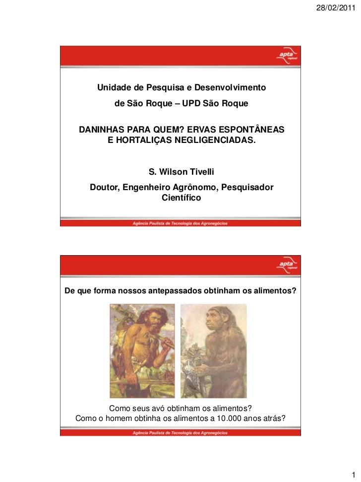 28/02/2011       Unidade de Pesquisa e Desenvolvimento            de São Roque – UPD São Roque   DANINHAS PARA QUEM? ERVAS...