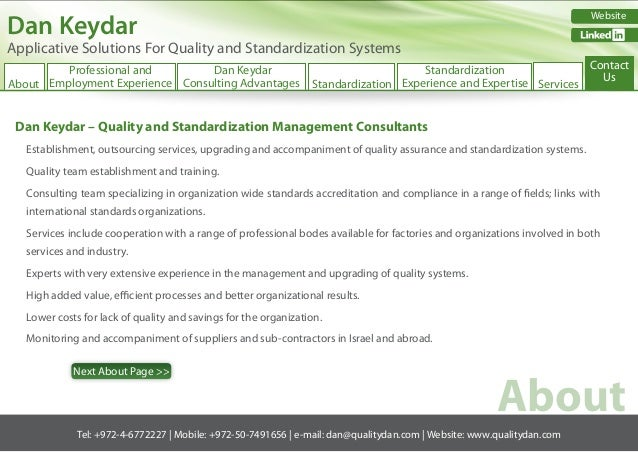 Dan Keydar  Website  #  Applicative Solutions For Quality and Standardization Systems  Contact Professional and Dan Keydar...