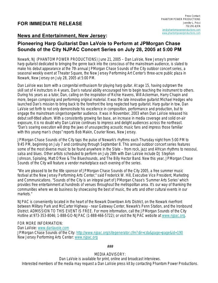 Press release dan lavoie to play jpmorgan chase njpac for Album press release template