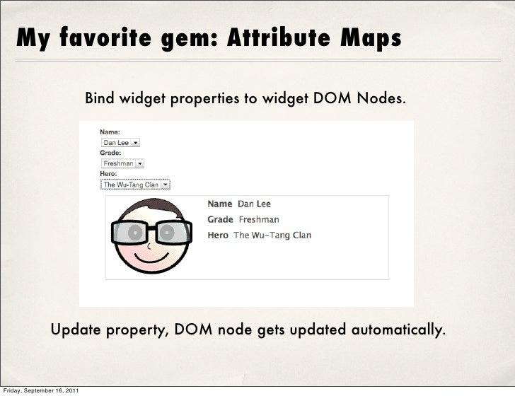 My favorite gem: Attribute Maps                             Bind widget properties to widget DOM Nodes.                Upd...
