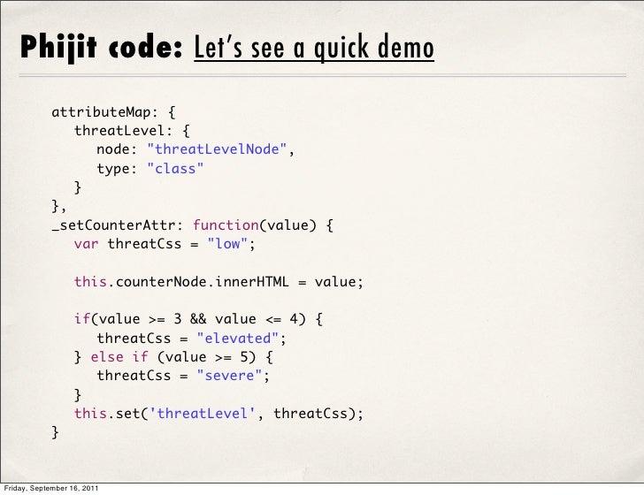 "Phijit code: Let's see a quick demo            attributeMap: {             threatLevel: {              node: ""threatLev..."