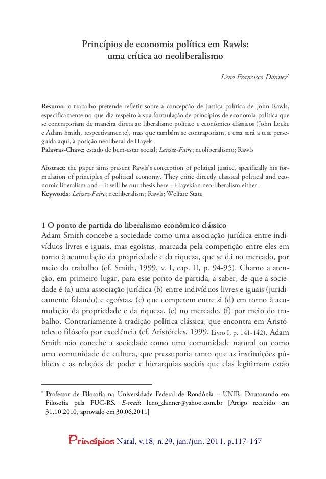Natal, v.18, n.29, jan./jun. 2011, p.117-147 Princípios de economia política em Rawls: uma crítica ao neoliberalismo Leno ...