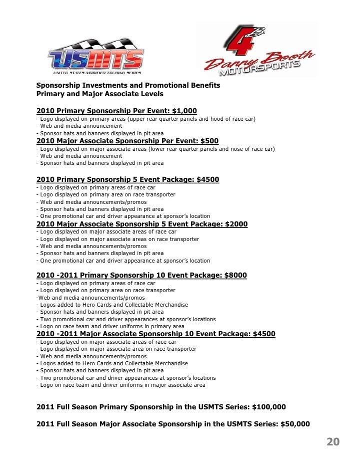 Danny Booth Motorsports Marketing Presentation 2010 2011 – Race Car Sponsorship Proposal Template