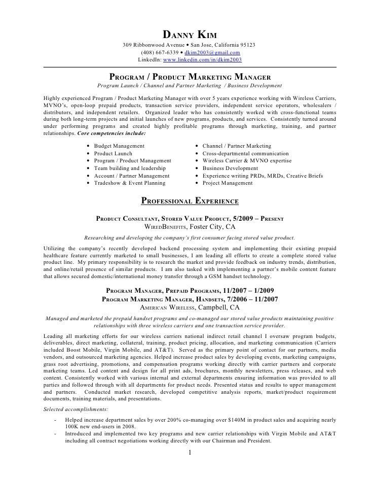 resume product marketing manager