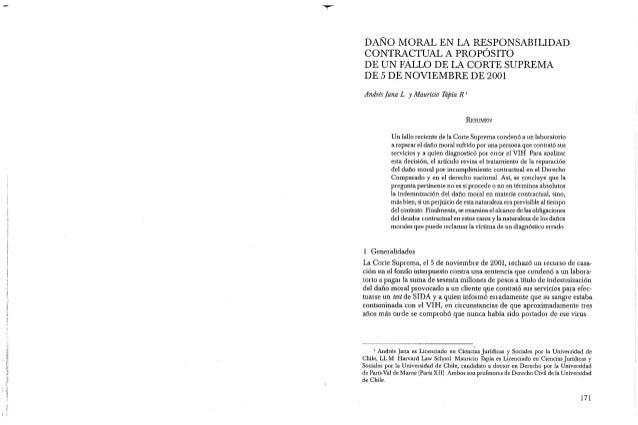 , ~! DAÑO MORAL EN LA RESPONSABILIDAD CONTRACTUAL A PROPÓSITO DE UN FALLO DE LA CORTE SUPREMA DE 5 DE NOVIEMBRE DE 2001 An...