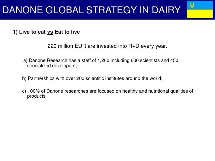 danonne strategic paper Danone strategy topics: groupe danone in the first part i studied the global marketing strategy of danone firstly at an international level, secondly at a local level with the exemple of its development in the united states in the second part i made an external and internal analysis of the group i used the slepts analysis for the.