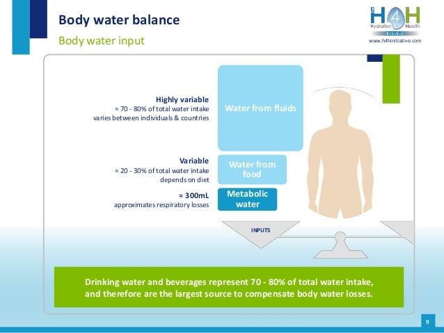 9 Body water balance Body water input Drinking water and beverages represent 70 - 80% of total water intake, and therefore...