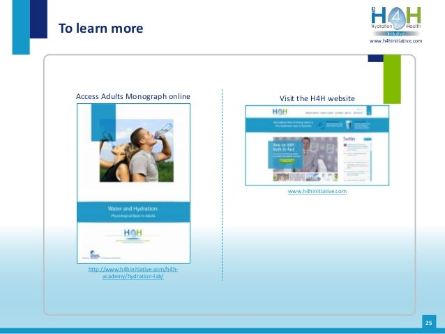 Access Adults Monograph online To learn more http://www.h4hinitiative.com/h4h- academy/hydration-lab/ Visit the H4H websit...