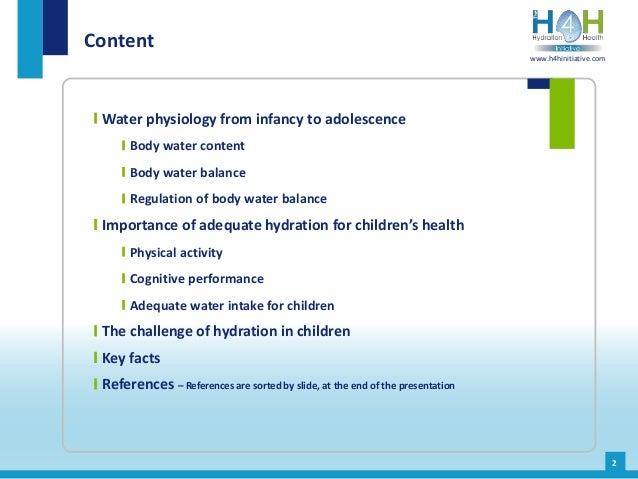Water intake and hydration physiology during childhood Slide 3