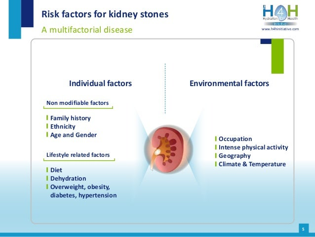 5 Risk factors for kidney stones A multifactorial disease Environmental factors Family history Ethnicity Age and Gender Di...