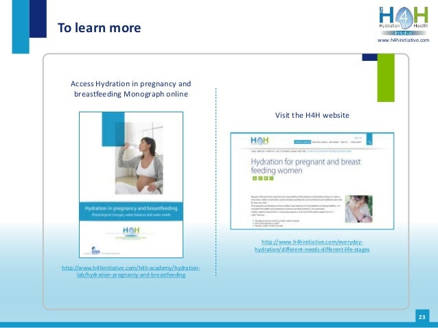 Access Hydration in pregnancy and breastfeeding Monograph online To learn more 23 http://www.h4hinitiative.com/h4h-academy...