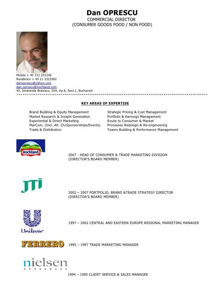 Dan OPRESCU                                            COMMERCIAL DIRECTOR                                      (CONSUMER ...