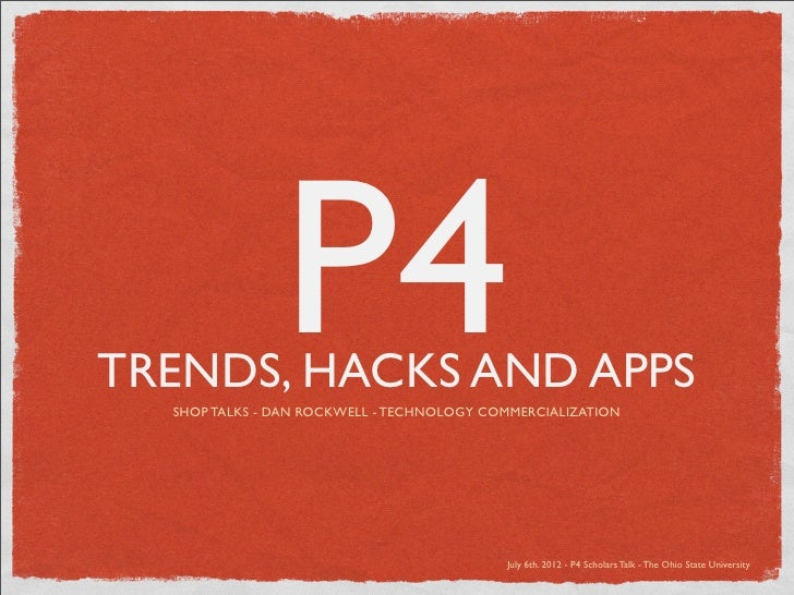 P4TRENDS, HACKS AND APPS  SHOP TALKS - DAN ROCKWELL - TECHNOLOGY COMMERCIALIZATION                                        ...