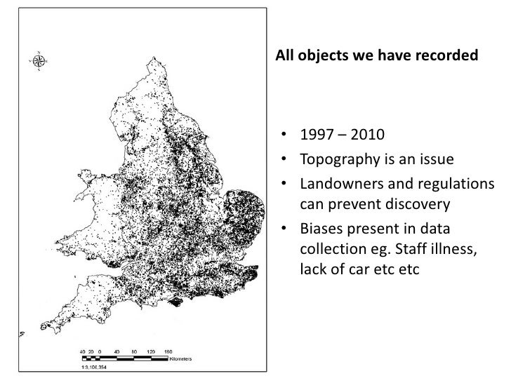All objects we have recorded• 1997 – 2010• Topography is an issue• Landowners and regulations  can prevent discovery• Bias...