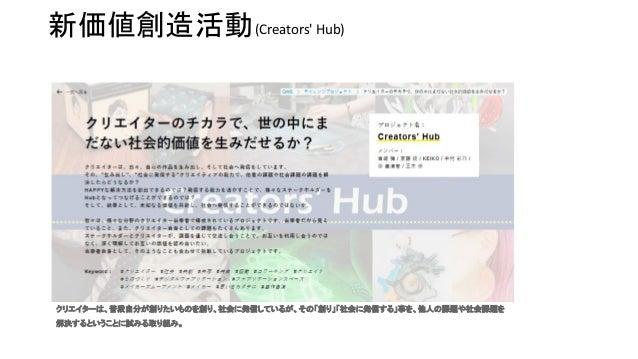 クリエイターは、普段自分が創りたいものを創り、社会に発信しているが、その「創り」「社会に発信する」事を、他人の課題や社会課題を 解決するということに試みる取り組み。   新価値創造活動(Creators' Hub)