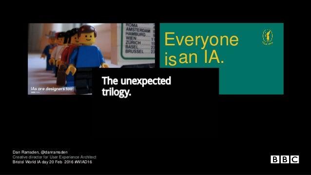 is by Dan Ramsden Everyone an IA. Dan Ramsden, @danramsden Creative director for User Experience Architect Bristol World I...