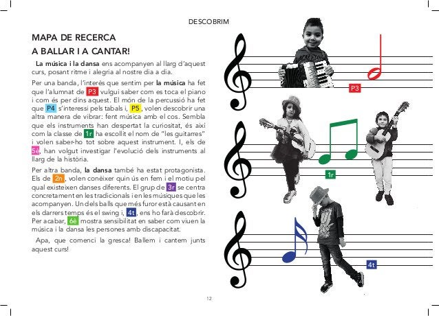 12 DESCOBRIM MAPA DE RECERCA A BALLAR I A CANTAR! La música i la dansa ens acompanyen al llarg d'aquest curs, posant ritme...