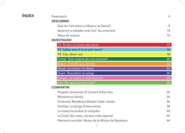 3 Presentació 4 DESCOBRIM Què diu l'art sobre La Música i la Dansa? 5 Aprenem a treballar amb l'art i les emocions 10 Mapa...