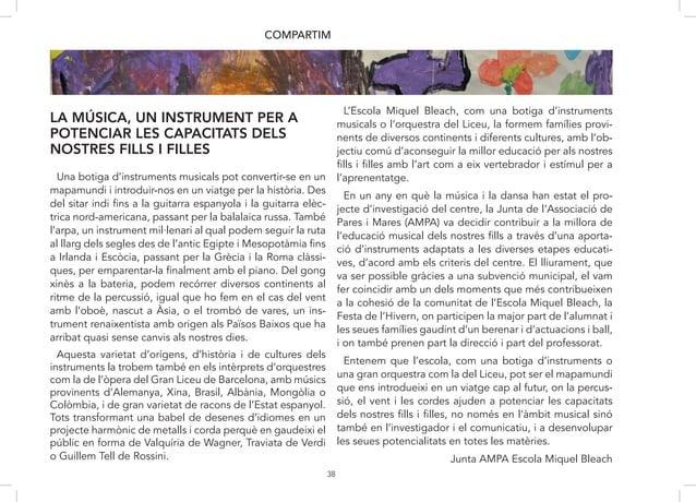 38 LA MÚSICA, UN INSTRUMENT PER A POTENCIAR LES CAPACITATS DELS NOSTRES FILLS I FILLES COMPARTIM Una botiga d'instruments ...