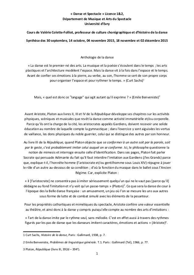 « Danse et Spectacle » Licence 1&2, Département de Musique et Arts du Spectacle Université d'Evry Cours de Valérie Colette...