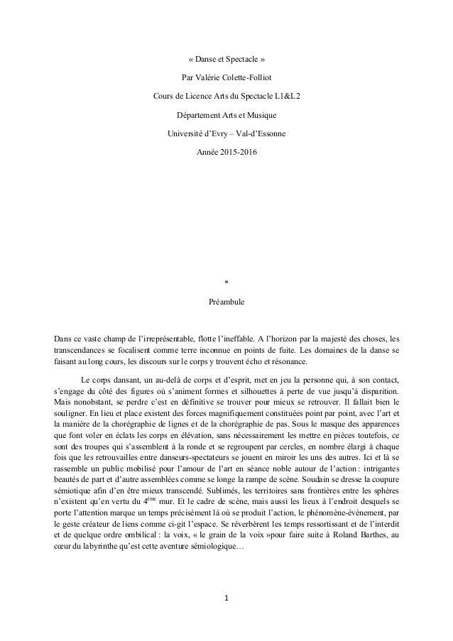 1  « Danse et Spectacle » Par Valérie Colette-Folliot Cours de Licence Arts du Spectacle L1&L2 Département Arts et Musiq...
