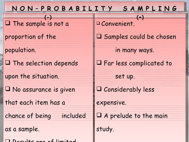 non probability sampling Advertisements: after reading this article you will learn about the combinations of probability and non-probability sampling if sampling is carried out in a series.